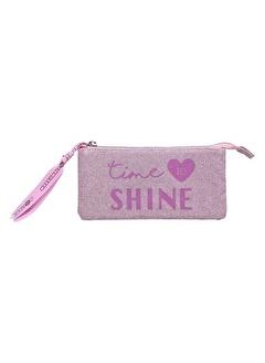 Marshmallow Glitter Shine in Pink 3 Bölmeli Kalem Çantası 62893